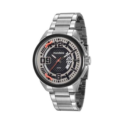 mondaine relógio calendário visor texturizado prata