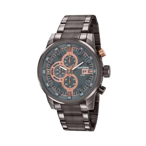 mondaine relógio cronógrafo pulseira em aço preto