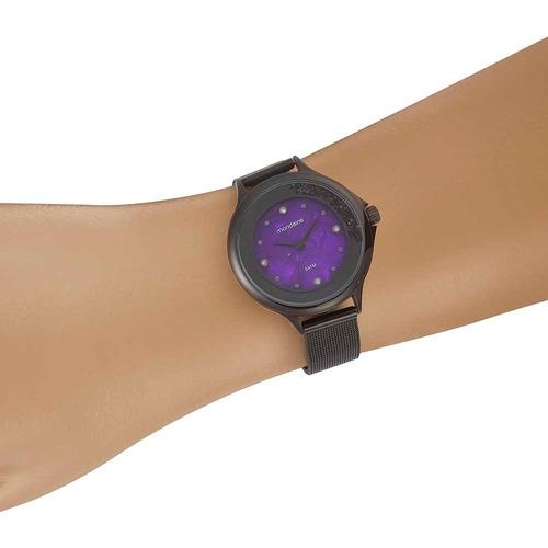 mondaine relógio malha de aço madrepérola preto