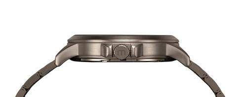 mondaine relógio multifunção pulseira em aço chumbo