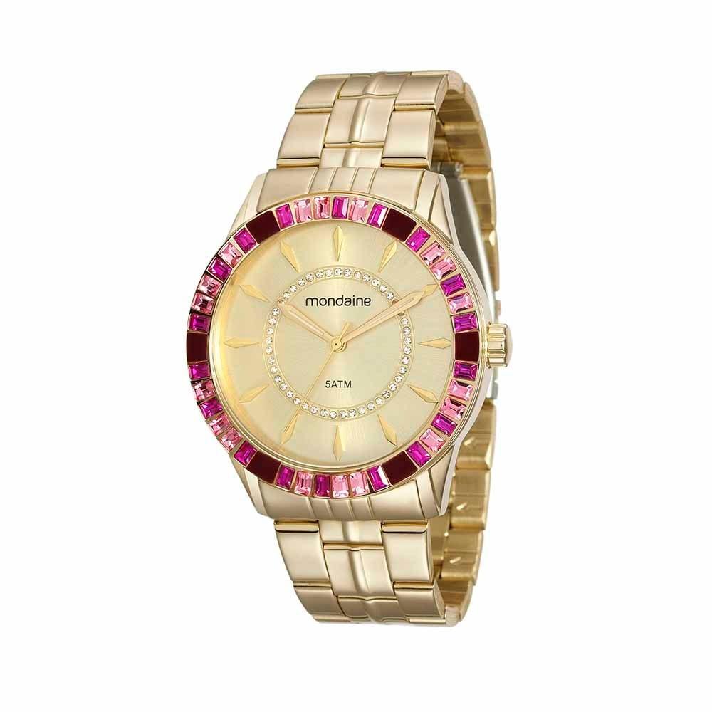 27f8f5617b2 mondaine relógio pedraria rosa em aço dourado 78730lpmvda4. Carregando zoom.