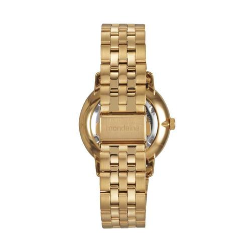 mondaine relógio visor madrepérola números romanos dourado