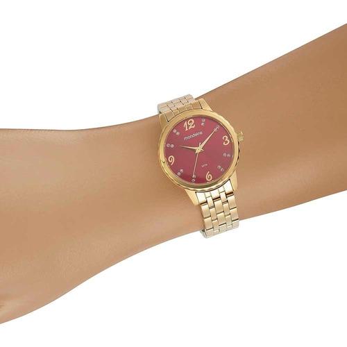 mondaine relógio visor vermelho cristais dourado