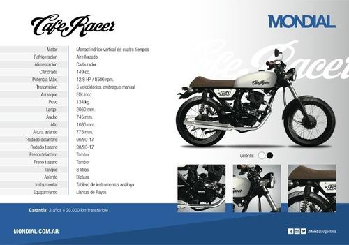 mondial w150 cafe racer 18 cuotas de $7152 oeste motos