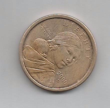 moneda 1 dollar sacagawea con marca  d