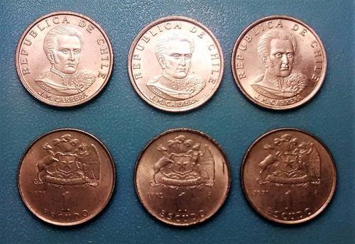 moneda 1 escudo chile  - 1971 - 1972 / km#197