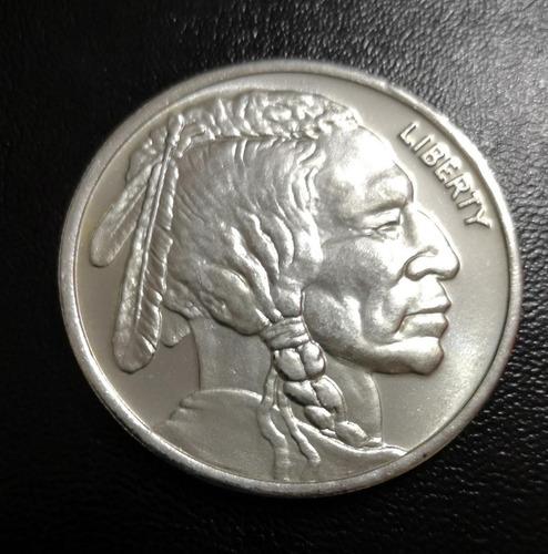 moneda 1 onza, plata .999, liberty indian buffalo, u. s. a