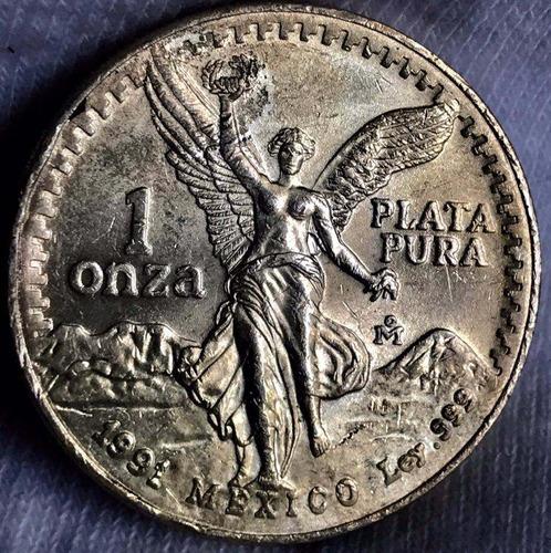 moneda 1 oz méxico 1991 plata l .999 excelente envió gratis