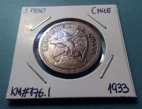 moneda 1 peso chile - 1933 /km#176.1