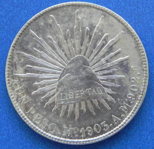 moneda  1 peso mexico 1903  a m excelente condicion plata