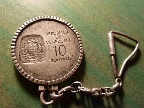 moneda 10 bolivares en llavero de plata 1973 - vp
