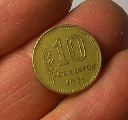 moneda 10 centavos, argentina, 1971.