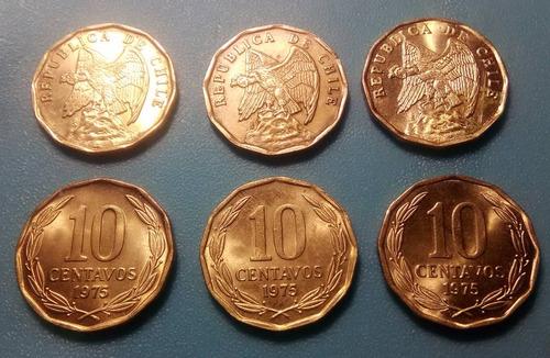 moneda 10 centavos chile  - 1975 / km#205