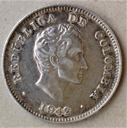 moneda 10 centavos colombia plata  año 1942