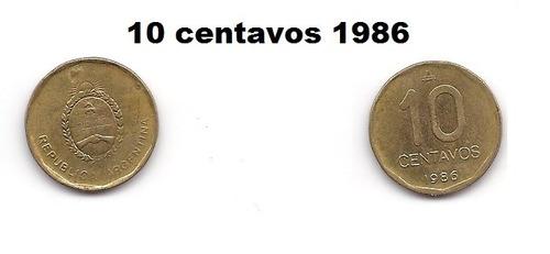 moneda 10 centavos de austral 1986