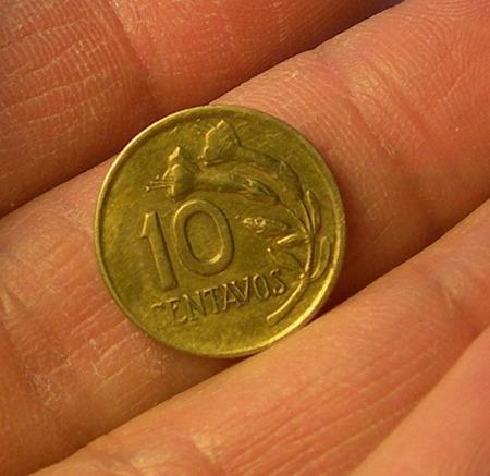 moneda 10 centavos, perú, 1971.