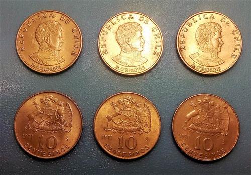 moneda 10 centésimos de escudo chile  - 1971 / km#194