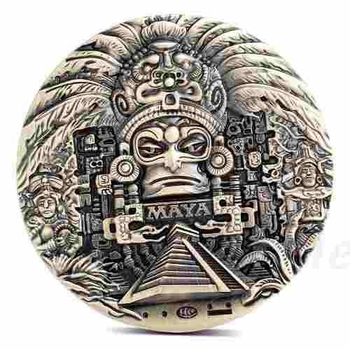 Moneda 10 Onzas Calendario Azteca Pirámide Maya Chichen Itza