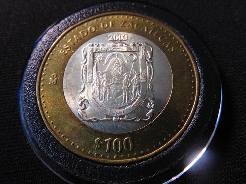 moneda 100 pesos zacatecas 2003 escudo con la virgen nueva