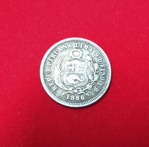moneda  1/5 de sol peru plata 9 decimos finos 1866