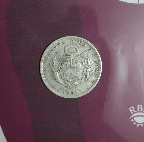 moneda 1/5 de sol plata 9 decimos finos 1896
