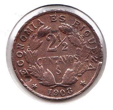 moneda 2 1/2 centavos 1908 economia es riqueza