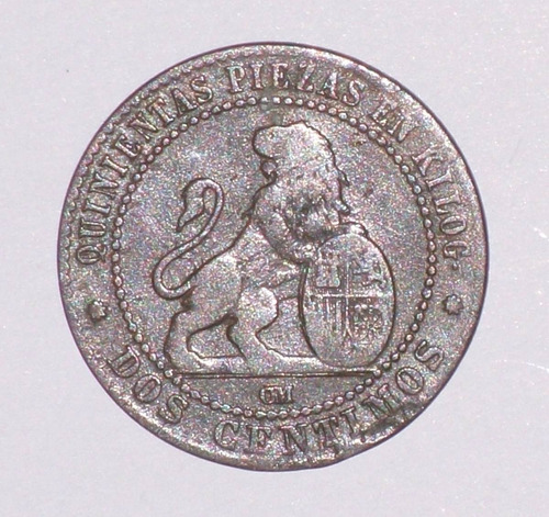 moneda 2 centimos españa 1870 - muy buena