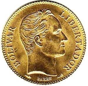 moneda 20 bolívares de oro año 1912