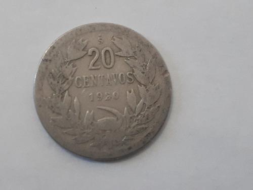 moneda 20 centavos con nº 1920 niquel escasa f+(8ch