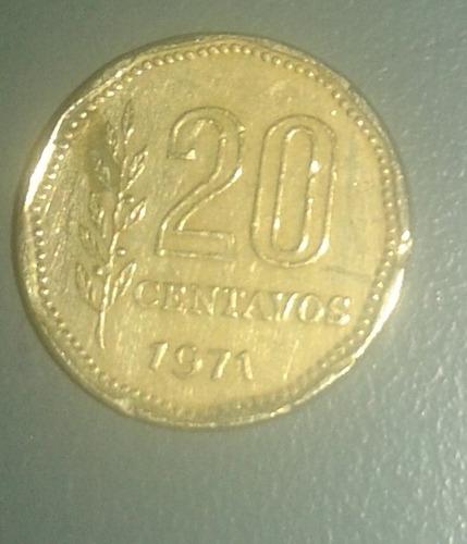 moneda - 20 centavos - ley 18188 - año 1971