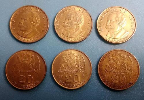 moneda 20 centésimos de escudo chile  - 1971 / km#195