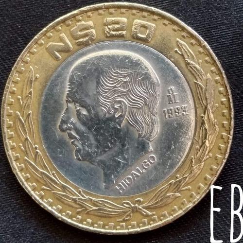 Moneda $20 Nuevos Pesos Hidalgo Centro De Plata 1993..