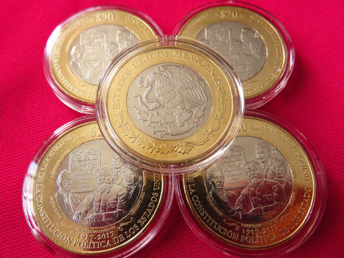 moneda 20 pesos centenario constitucion con capsula nueva