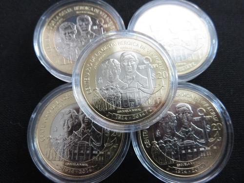 moneda 20 pesos veracruz gesta heroica 2014 con capsula