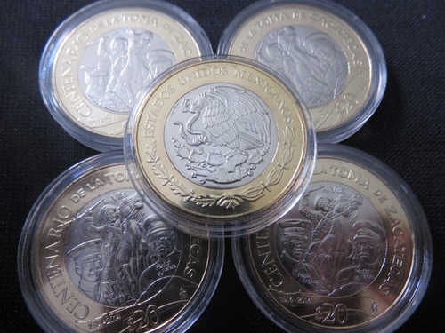 moneda 20 pesos  zacatecas 2014 villa capsula de regalo