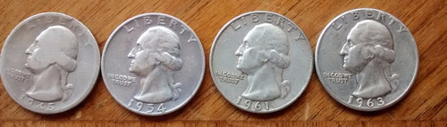 moneda 25 centavos usa fechas 1945,1954 y 1965