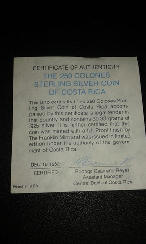 moneda 250 colones jaguar costa rica prof, estuche original