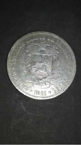 moneda 5 bolívares de 1911, fuerte de plata 1911 (f+)