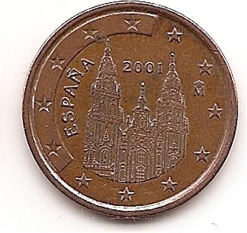 moneda 5 cent de euro españa año 2001 km#1042