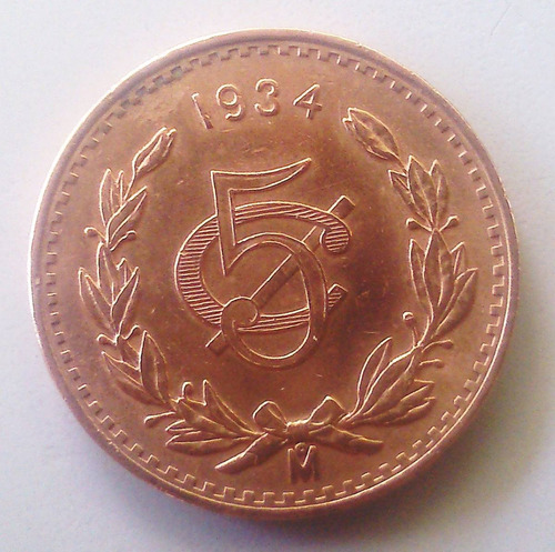 moneda 5 centavos 1934