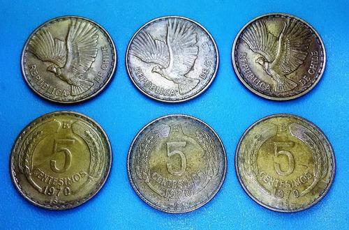 moneda 5 centésimos chile - 1970 / km#190