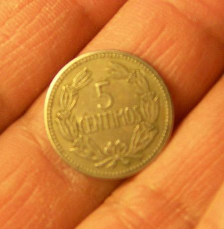 moneda 5 céntimos, venezuela, 1965.