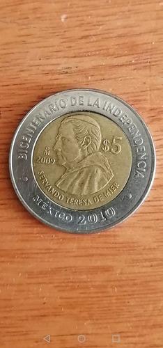 moneda 5 pesos bicentenario de la independencia