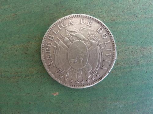 moneda 50 centavos bolivia 1909 plata - vp