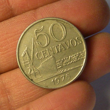 moneda 50 centavos, brasil, 1975.