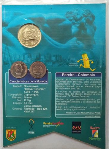 moneda 50 centavos resello juegos bolivarianos 2005