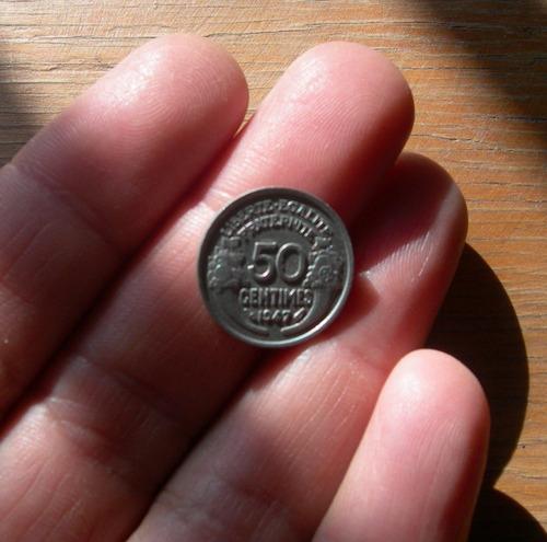 moneda 50 centimos. francia, 1947.