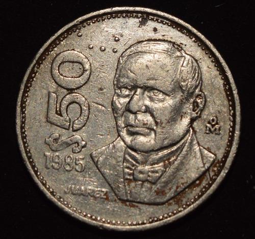 moneda $50 cincuenta pesos juárez méxico 1985