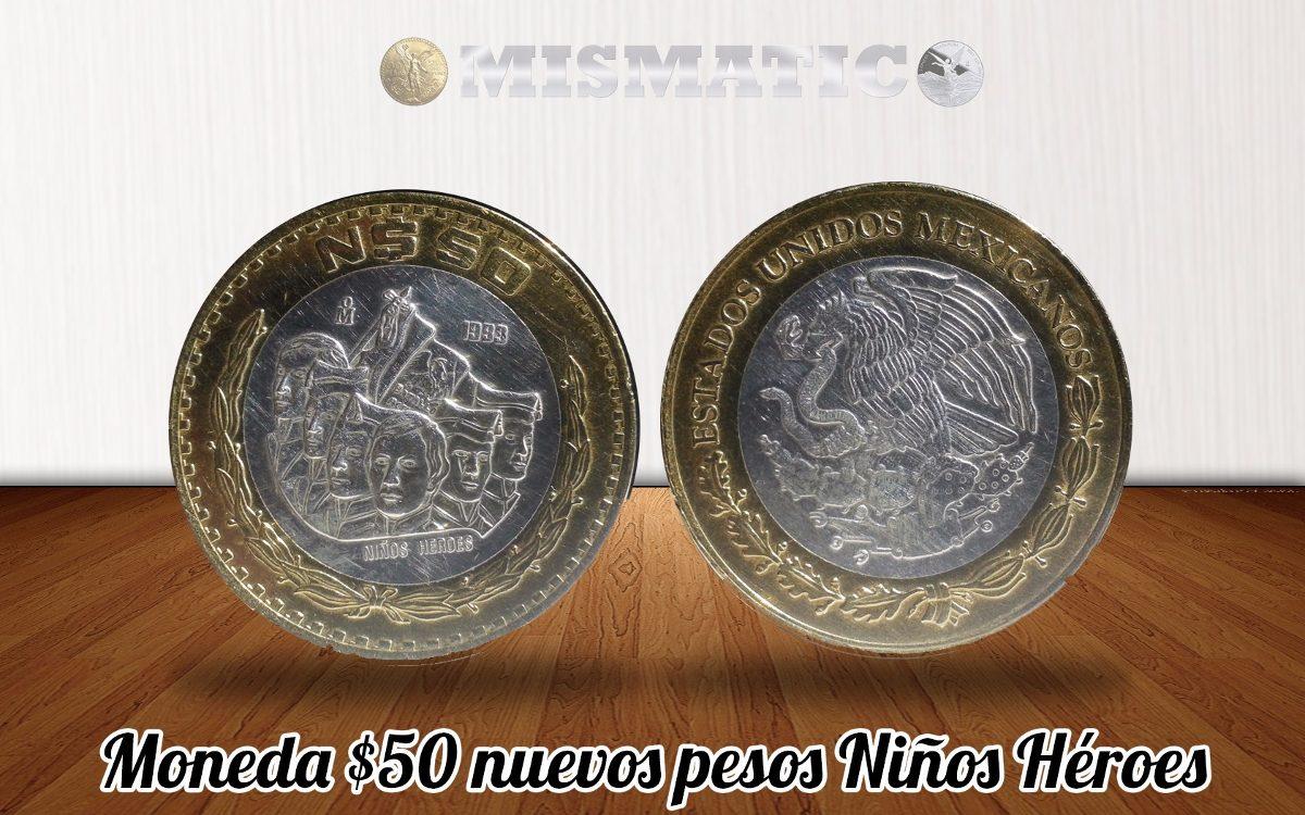 Moneda 50 Nuevos Pesos Niños Heroes Centro De Plata 0.925..