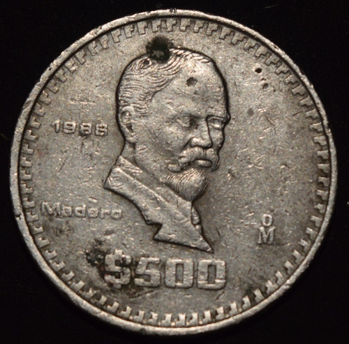 moneda $500 madero méxico 1988